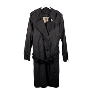 Burberry Black Trench Coat Large Nova Check